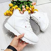 Высокие белые молодежные женские зимние кроссовки зима 2020-2021, фото 1