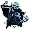 Наклейка для автомобиля белая скелет 3D 16*15см