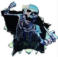 Наклейка для автомобиля белая скелет 3D 16*15см, фото 1