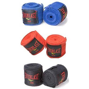 Бинт боксерский 3м, Everlast, пара, синий, красный, черный