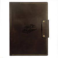 Кожаная рабочая папка для докуменов Anchor Stuff Подарок дальнобойщику А4 Коричневая (as150101-8)