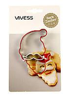 Форма для вырезания печенья Дед Мороз, VIVESS из нержавеющей стали