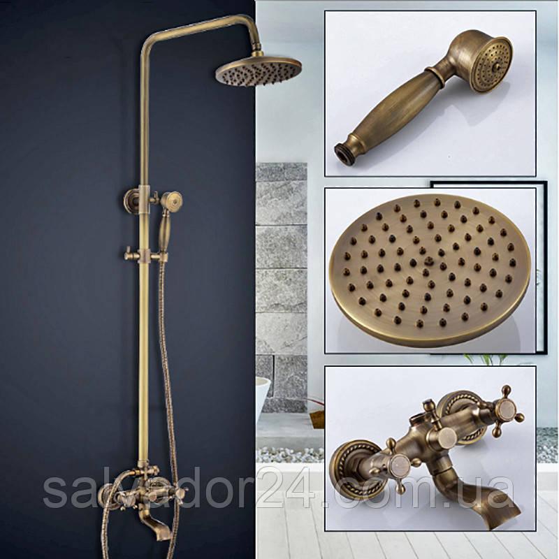 Душевая система Deco 6132 DBR бронза в античном стиле  из латуни для ванной комнаты