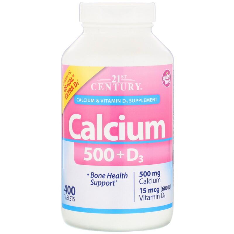 Кальцій Calcium 500 + D3 21st Century 400 таблеток
