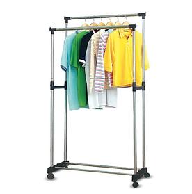 Вішалка стійка для одягу підлогова подвійна телескопічна Double-Pole Clothes-horse
