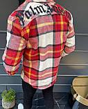 Мужская байковая рубашка с капюшоном Palm Angels M593 красная, фото 2