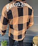 Мужская байковая рубашка с капюшоном Palm Angels M595 коричневая, фото 2