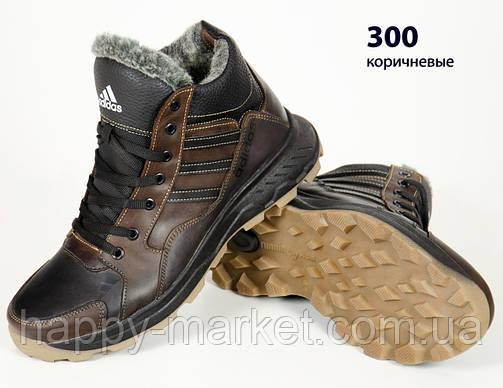 Кожаные мужские зимние кроссовки ботинки коричневые Adidas, шкіряні чоловічі чоботи, спортивные ботинки, фото 2