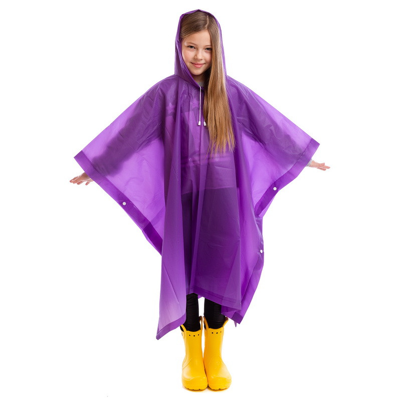 Дождевик детский Пончо многоразовый фиолетовый C-1020