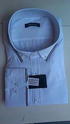 Елегантна Чоловіча сорочка полупритал великого розміру DERGI з коміром на ґудзиках біла