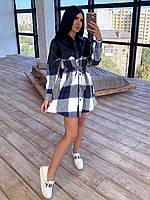 Платье рубашка в клетку в сочетании с кожей, разные цвета
