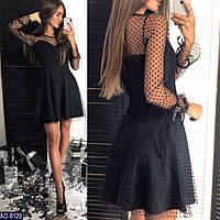 Платье женское нарядное черная сеточка в  бархатный горошек
