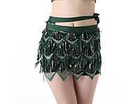 Платок пояс для восточных танцев Зеленый