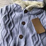 Теплый вязанный комбинезон на девочку и мальчика 3. Размер 62 см, 68 см, 74 см, фото 2