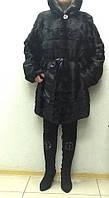 Шуба из норки черная с капюшоном