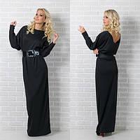 Стильное длинное платье в черном цвете