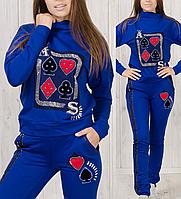 Женский спортивный костюм турецкий стильный с лампасами № 8898 электрик