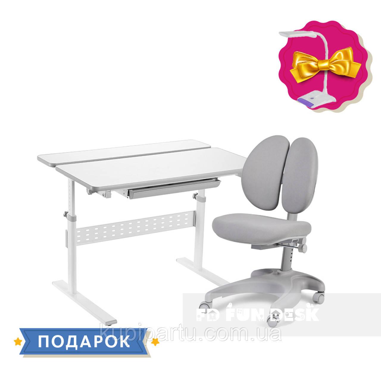 Комплект для школьника 👨🏫 парта-трансформер Fundesk Colore Grey + эргономичное кресло FunDesk Solerte Grey