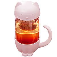 Чашка с заварником Штуки «Кот» бежевая