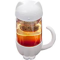 Чашка с заварником Штуки «Кот» белая