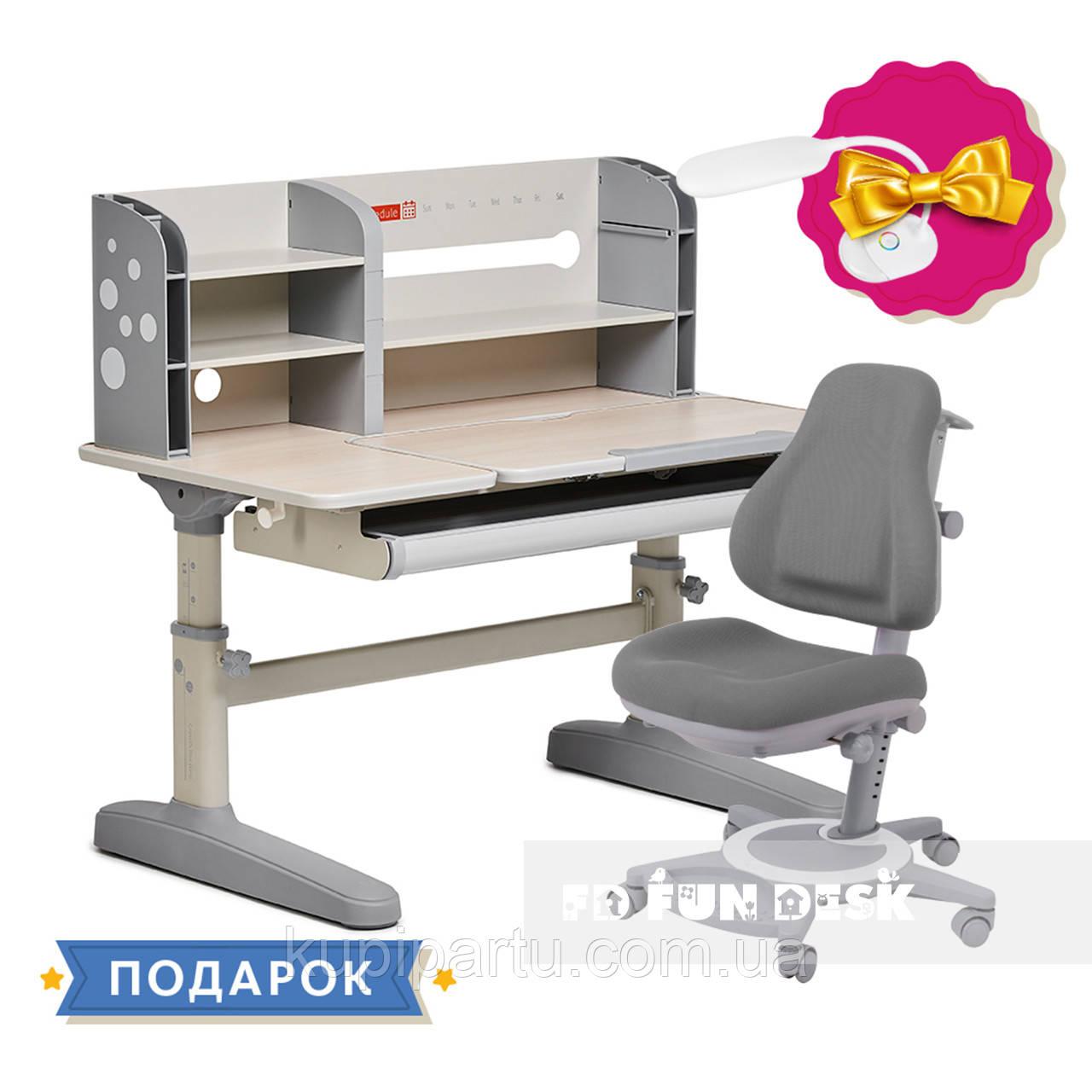 Комплект школьника 👨🏫  парта-трансформер Fundesk Amico Grey + ортопедическое кресло FunDesk Bravo Grey