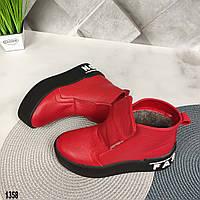 Красные зимние кожаные женские ботинки, фото 1
