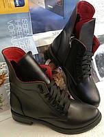 Pepe! Женские зимние черные кожаные полу ботинки на низком ходу со змейкой и шнуровкой очень удобные