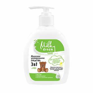 """Универсальное средство 3в1 """"Для купания, мытья волос и подмывания малышей"""", 250 мл, Milky Dream"""