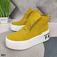 Демисезонные женские ботинки желтого цвета, фото 1