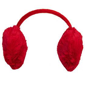 Меховые наушники детские теплые из эко меха, 13*11.5*10,5 см, красные (240103)