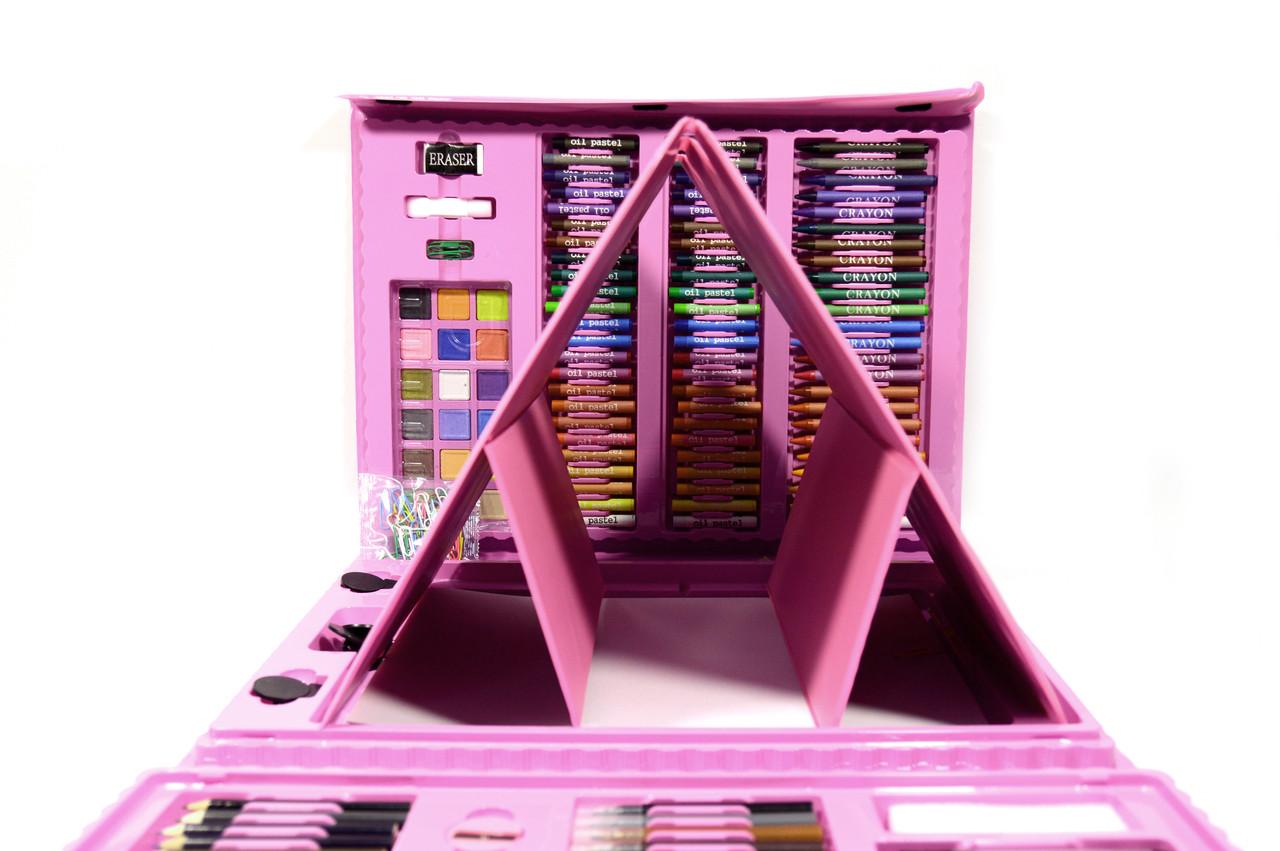 Набір для малювання з мольбертом Валізу творчості 208 предметів (Рожевий)