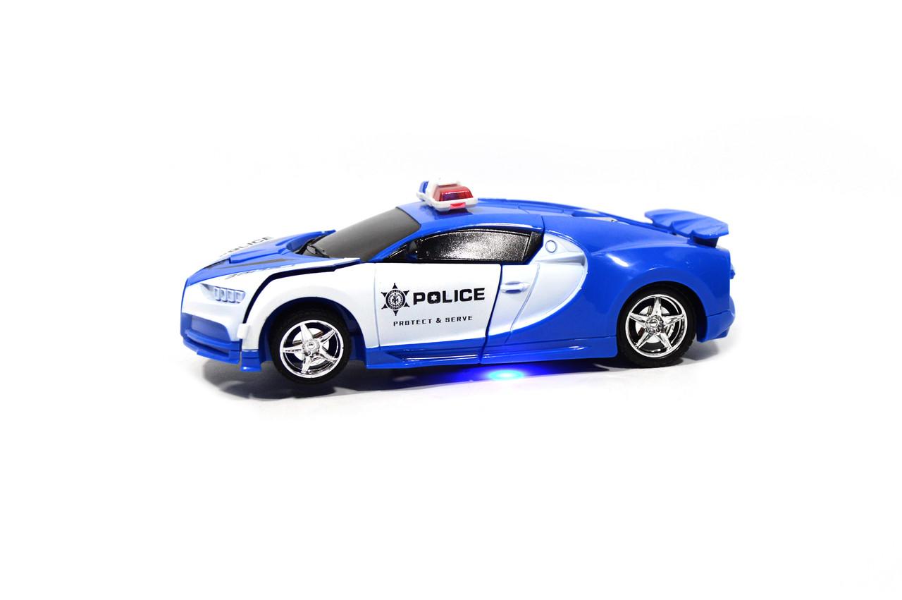 Машинка - робот трансформер на радиоуправлении Bugatti Полицейская радиоуправляемая 2 в 1 синяя 20 x 9 x 6 см