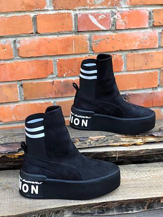 Модные ботинки из натуральной замши с надписью на подошве 36-40 р, фото 2