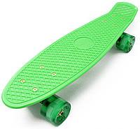Скейт Penny Board, с широкими светящимися колесами Пенни борд, детский , от 4 лет, Цвет Зеленый