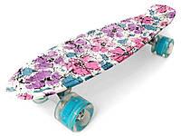 Скейт Penny Board, с широкими светящимися колесами Пенни борд, детский , от 4 лет, расцветка Цветы
