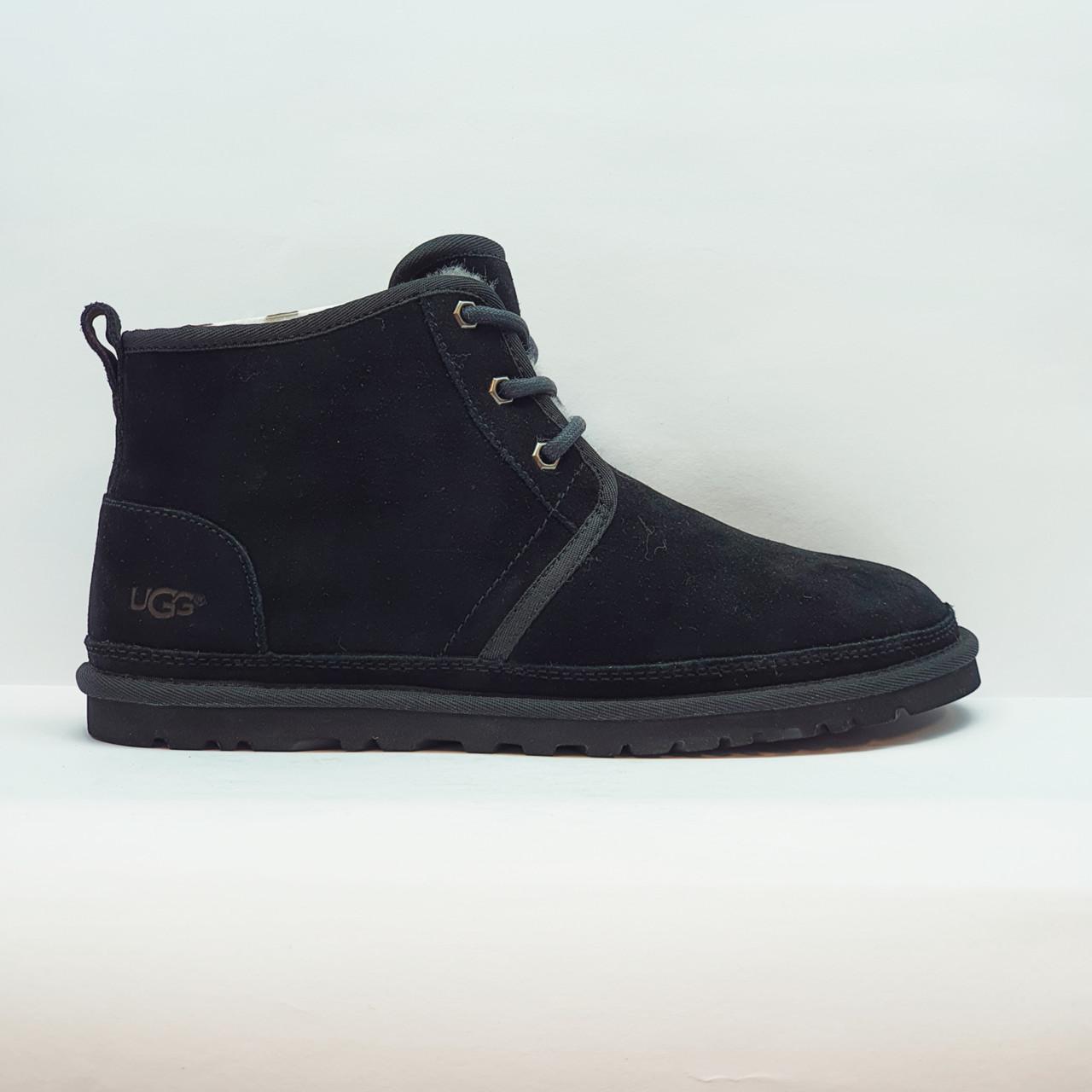 Угги, ботинки зимние мужские повседневные из натуральной замши и овчины черные 44