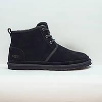 Угги, ботинки зимние мужские повседневные из натуральной замши и овчины черные 44, фото 1