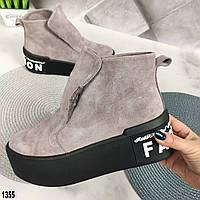 Женские замшевые ботинки на меху, фото 1