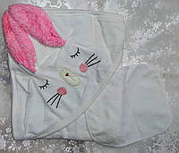 Махровое детское полотенце с капюшоном Зайка
