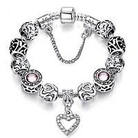 Женский браслет в стиле Пандора PANDORA Pink Stone Heart