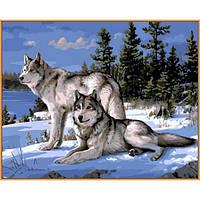 Картина по номерах Babylon Волки на снегу 40х50см NB236 набір для розпису по номерах в коробці набір для розпису, фарби та пензлі
