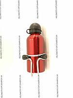 Фляга алюминиевая 350мл, пищевая с креплением, красная1032)