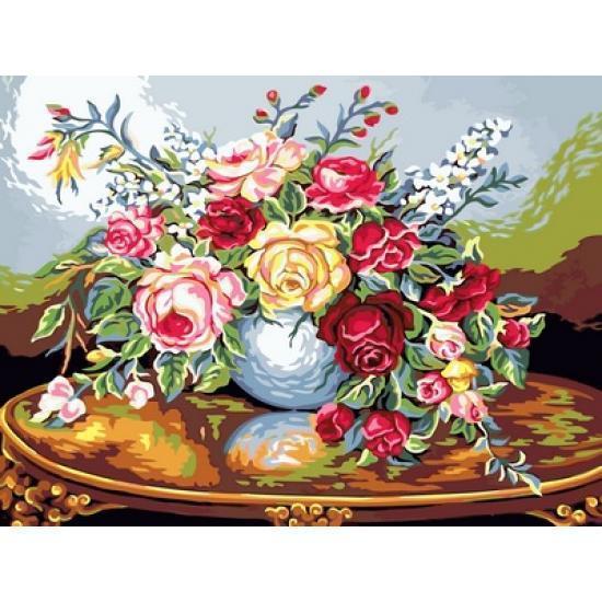 Картина по номерах Babylon Розы на резном столе 30х40см VK085 набір для розпису по номерах, фарби та пензлі
