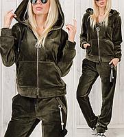 Теплый спортивный костюм женский зимний велюровый пр-во Турция хаки № 8886