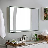Зеркало для ванной в алюминиевой раме, темно - зеленый цвет, фото 1
