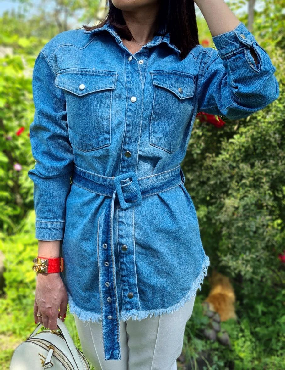 Удлиненная джинсовая куртка Мягкий коттон 100%. (6313)