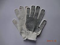 Перчатки белые плотные х/б с ПВХ точкой (упаковка 10 пар)