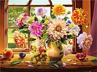 """Алмазная мозаика """"Георгины"""", полное заполнение, размер полотна 40*50 см."""
