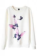 Женский стильный свитшот с принтом Бабочки (женские кофты, кофточки, толстовки, регланы, свитера, кардиганы)
