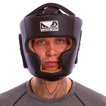 Шлем боксерский с полной защитой кожаный BDB (черный, р-р M-XL)